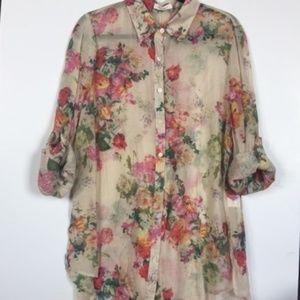 [boutique] floral button down blouse